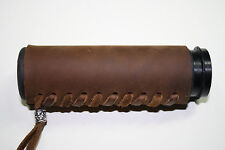 New MCD Pair Brown Heavy Duty Leather Motorcycle Hand Grip Throttle Covers Wraps