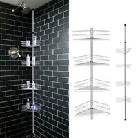 4 Tier Metal Shower Corner Pole Caddy Bathroom Wall Shelf Storage Rack Holder US