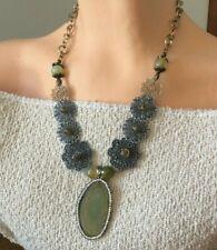 Designer vintage green slice agate pendant banded filigree statement necklace