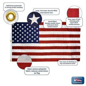 6x10 USA American Flag Nylon  Embroidered Stars Sewn Stripes Grommets USA Made
