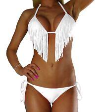 Damen Neckholder Bikini Set Top Hose Weiß Weiss Fransen Tassel Gr. XS S M L NEU
