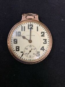 16S - 21 JEWELS HAMILTON GR 992 ELINVAR 10KGF BOC  POCKET WATCH