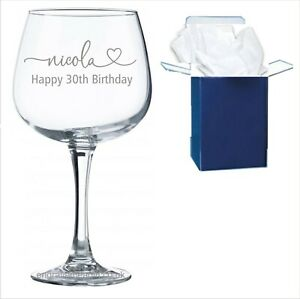 Personalised Engraved Gin Balloon Glass Birthday Gift 18th, 21st, 30th, 40th,