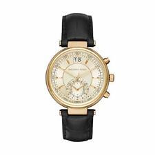 Michael Kors Sawyer MK2433 39mm Gold Dial Black Leather Strap Women's Watch