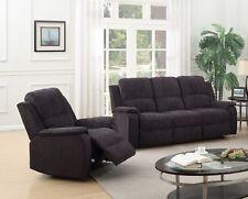Black Grey Fabric Material Manual Reclining Recliner Sofa Suite Dorset 3 Seater 1 Chair