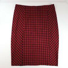 J. Jill Buffalo Plaid Ponte Pencil Skirt Red Black Stretch Women's Size Large