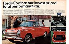 1966 FORD CORTINA GT  ~  NICE ORIGINAL 2-PAGE PRINT AD