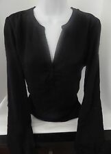 Calvin Klein Jeans Black knit V neck Top Sheer polyester size small excellent