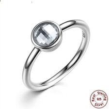 Women Men Fashion 925 Silver Ring White Topaz Wedding Vintage Ring Size 9