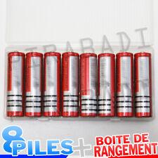 8 PILES ACCUS RECHARGEABLE 18650 3.7V 6800mAh Li-ion + BOITE DE RANGEMENT OFFERT