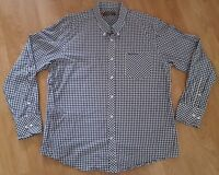 Ben Sherman Shirt Long Sleeved Formal Casual White Checked Size 4XL