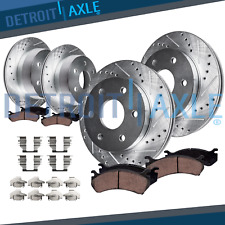 Chevy Silverado GMC Sierra 1500 Front & Rear DRILLED Brake Rotors + Ceramic Pads