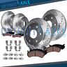 Chevy GMC Silverado Sierra 1500 Front & Rear DRILLED Brake Rotors + Ceramic Pads