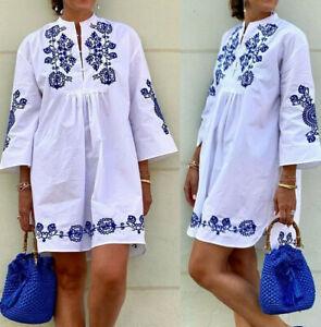 ZARA WHITE BLUE PORCELAIN FLORAL ORIENTAL EMBROIDERED MINI DRESS ASYMMETRIC HEM