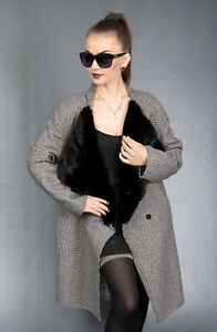 8504 NEW SUPER CHIC GRAY WOOL CASHMERE COAT JACKET MINK BEAUTIFUL LOOK SIZE M