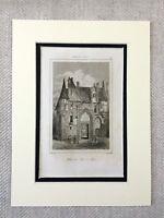1830 Hotel de Sens Paris France Antique French Engraving Print