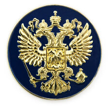 Crest Gold Plated Lapel Pin Gift Box Russian Imperial Eagle Russia Coat Of Arms