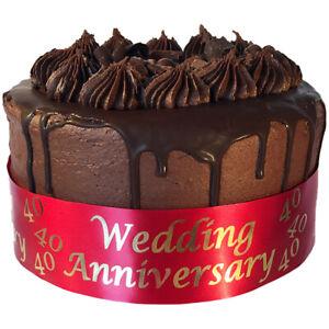 Personalised 1m Cake Ribbon Anniversary Cake Frills Wedding Golden Silver Ruby