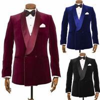 Velvet Men Blazer Double-breasted Wedding Groom Tuxedos Prom Dinner Formal Suit