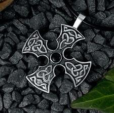 925 Sterling Silber, Kelten-Kreuz mit Onyx,keltisches Kreuz,Larp,Ketten-Anhänger