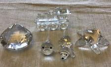 Swarovski Crystal Figurines Lot Of 5: Dog, Fish, Clam, Locomotive, Starfish