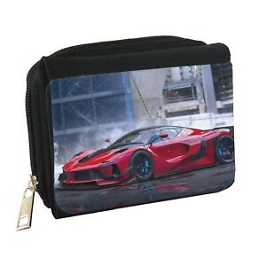 Ferrari Mens Personalised Black Denim Wallet
