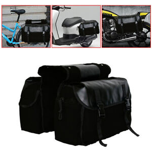 Black Motorcycle Saddle Bags Rear Tail Seat Trunk Luggage Storage Bag Waterproof