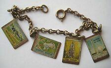 VINTAGE 1939-40 New York World's Fair MINIATURE POSTCARD Charm Bracelet