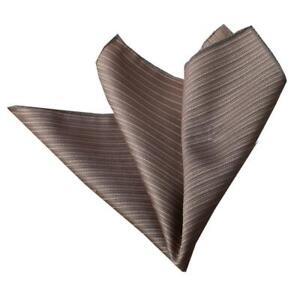 Celino Beige Brown Striped Pocket Square for Men Silk Handkerchiefs for Suits