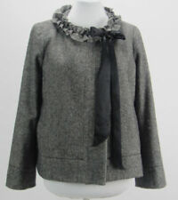 J CREW Womens Size 4 Wool Cheshire Ruffle Tie Neck Jacket Gray Tweed Herringbone