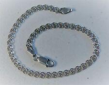 """Italian 8"""" Sterling Silver Charm Double Fancy Link Bracelet Anklet"""