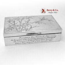 Pebble Hammered Presentation Box Bamboo Pattern Wai Kee Sterling Silver