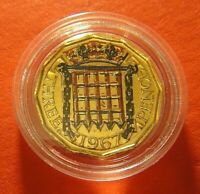 Gold Plated Coloured Brass Three Pence 1967 coin