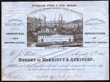1856 Sheffield England - Marriott & Atkinson - Steel & File Works - Letter Head