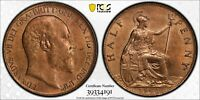 PCGS MS-64 RED-BN GREAT BRITAIN HALFPENNY 1/2 PENNY 1902 (LOW TIDE SEA LEVEL) R!