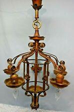 Antique Vintage Art Deco Nouveau Spanish Revival 5 Hanging Light Chandelier