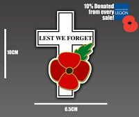 POPPY DAY STICKER LEST WE FORGET NEVER FORGET REMEMBRANCE CROSS CAR VAN BIKE
