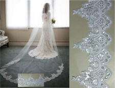 NEW IVORY Lace Edge Sequins Bridal Long Veil Cathedral Wedding Bridal Comb Veil