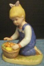 """1985 Denim Days Porcelain Figurine Homco Debbie Basket of Vegetables 4 1/2""""T"""