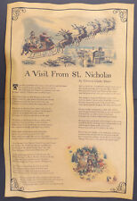 A Visit From St. Nicholas Poster, Twas the Night Before Christmas, 11x17, aged