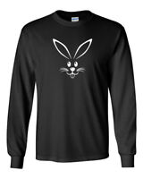 Long Sleeve Bunny Face T Shirt Happy Easter Funny Cute Tee T-Shirt Holiday Humor