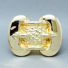 MASSIVE MENS 65g QUALITY HIGH POLISH JEWELLERS BRONZE DOUBLE BUCKLE RING SIZE Y