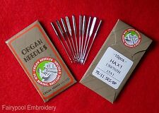 10 Organ Domestic Embroidery Sewing Machine Needles Flat Backs BP 130/705H 75/11