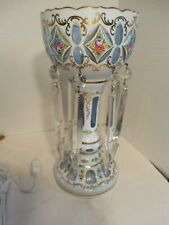 Antique, Cut to Clear Blue Decorated Glass Luster Vase Lamp