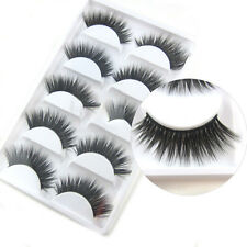 5 Pairs 3D Mink False Eyelashes Cross Natural Long Eye Lashes Makeup Tool Hot AU