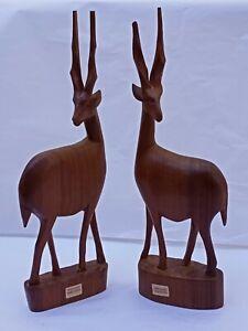 Vintage Carved Wood Figurine Statue Gazelle or Antelopes from Kenya Africa 30cms