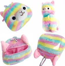 2 x Kawaii Multicoloured Rainbow Alpaca Items Cute Llama Head Purse & Plush