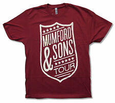 Mumford & Sons Shield Tour Logo Maroon Red T Shirt New Official Band Merch