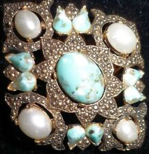 Sarah Coventry Costume Jewelry Gold Tone Pin Fashion Brooch Faux Turquoise Pearl