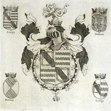 Blason Chevalier Toison d'or Jean d'Aragon Alonso Diego López Zúñiga Gravure